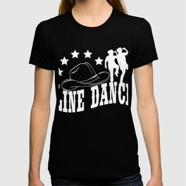 """A Perfect Gift For Line Dancers Cowboy Western Music """"Line Dance"""" T-shirt Design Stars Country Music T-shirt"""