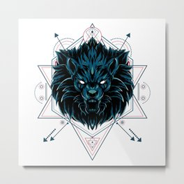 The Wild Lion sacred geometry Metal Print