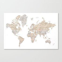 """World map in gray and brown watercolor """"Abey"""" Canvas Print"""