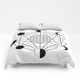 moon phase crystal grid Comforters