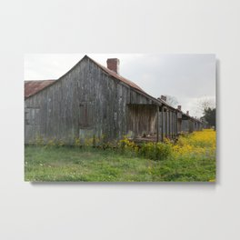 Plantation Slave Quarters with flowers Metal Print