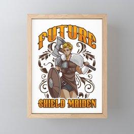 Cute Future Shield Maiden Nordic Viking Warrior Framed Mini Art Print