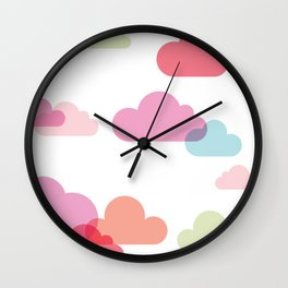 cartoon clouds Wall Clock