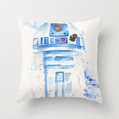 R2-D2 R2D2 droid watercolor Wars Scifi Star FAnart Throw Pillow