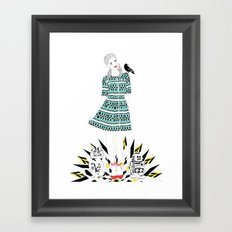 Oz: Dorothy, the Cowardly Kitty, the Tin Toy and the Scary Crow. Framed Art Print
