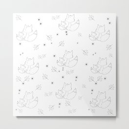 Fox and Flowers Doodle Pattern Metal Print