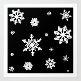 Snowflakes | Black & White Art Print