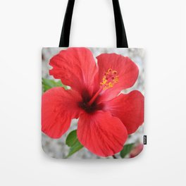 A Stunning Scarlet Hibiscus Tropical Flower Tote Bag