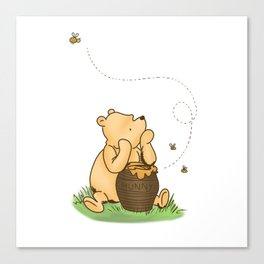 Classic Pooh with Honey - No background Canvas Print