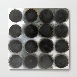 WATERCOLOUR DISCS: Black Spinel Metal Print