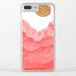 Red watercolor abstract mountains and moon Clear iPhone Case