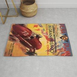 1948 Vintage Barcelona Car Racing Motor Sport Penya Rhin Grand Prix Gran Premio Advertisement Poster Rug