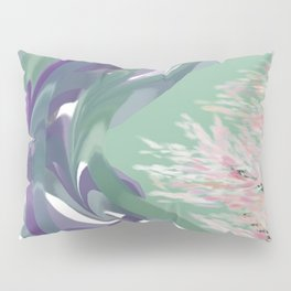 Deep Ocean River Abstract In Soft Green and Purple Pillow Sham