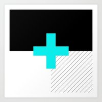 Neon Cross (Blue) // Neon Plus (Blue) Art Print