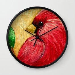 SPRING RED CARDINAL BIRD in MY GARDEN OIL PAINTING Wall Clock