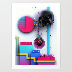 Skull and Colour Art Print