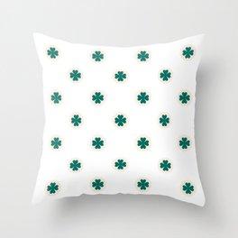 Saint Patrick Shamrock Clove Seamless Pattern Throw Pillow