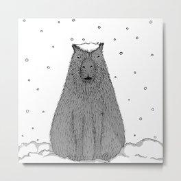 Capybara and Snow Metal Print