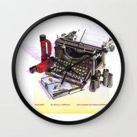 typewriter Wall Clocks featuring Typewriter by Nancy L. Hoffmann