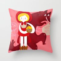 red riding hood Throw Pillows featuring Red Riding Hood by genie espinosa