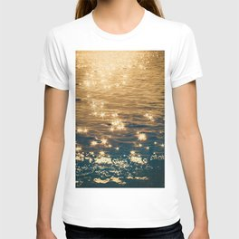 Sparkling Ocean in Gold and Navy Blue T-shirt