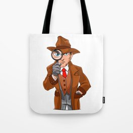detective looking through magnifying glass Tote Bag