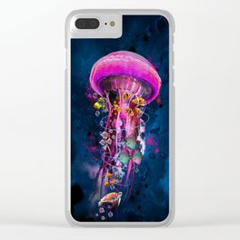 Pink Electric Jellyfish Clear iPhone Case