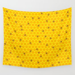 Mind Your Own Beeswax / Bright honeycomb and bee pattern Wall Tapestry