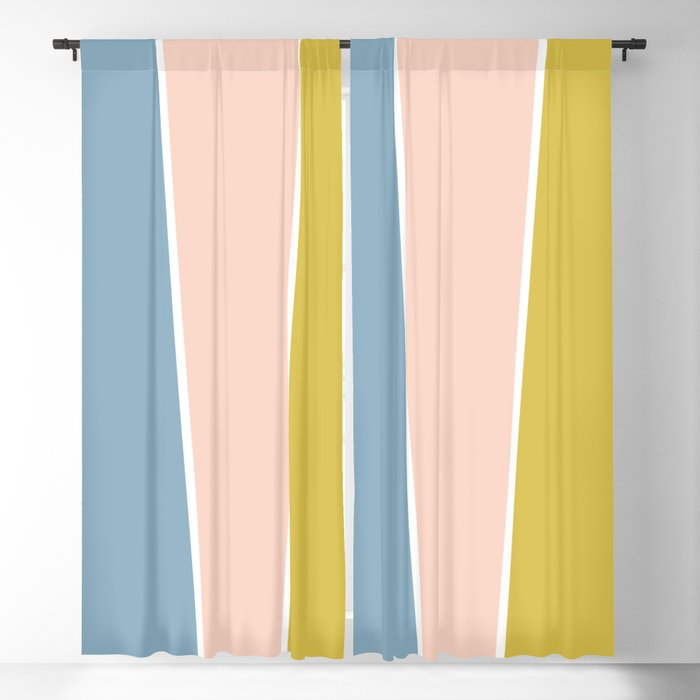 Retro Spring Color Block Blackout Curtain