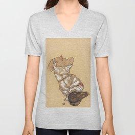"""Egon Schiele """"Weiblicher torso in unterwasche und schwarzen strumpfen"""" Unisex V-Neck"""