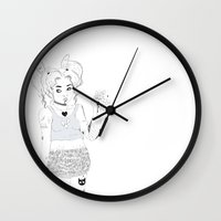 tattoos Wall Clocks featuring Tattoos & Pills by Floriane