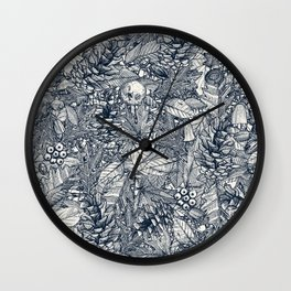 forest floor indigo ivory Wall Clock