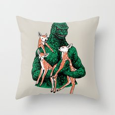 Fawns Meet Kaiju Throw Pillow