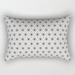Black/White Japanese Hemp Kimono Pattern Rectangular Pillow