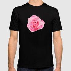 Swirly Petals Pink Rose Mens Fitted Tee MEDIUM Black