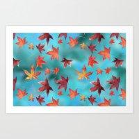 Dead Leaves over Cyan Art Print
