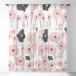 Pink Poppies Sheer Curtain