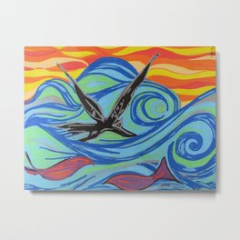 The ocean, waves, birds, and fishes Metal Print