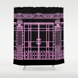 ART DECO, ART NOUVEAU IRONWORK: Pink on Black Shower Curtain