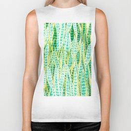 green snake plant pattern Biker Tank