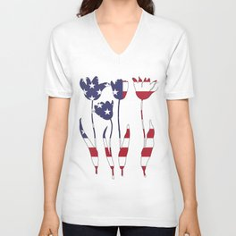 """Tulips """"American Flag"""" Unisex V-Neck"""