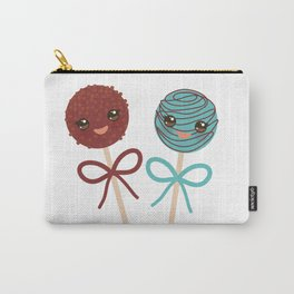 cute funny kawaii chocolate and blue Sweet Cake pops set with bow on white background Carry-All Pouch