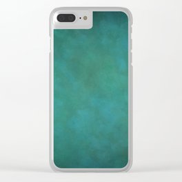 Abstract Soft Watercolor Gradient Ombre Blend 11 Teal, Turquoise, Green and Blue Clear iPhone Case