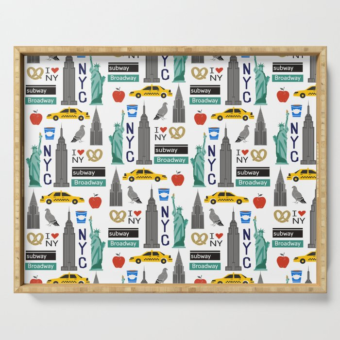 NYC travel pattern fun kids decor boys and girls nursery new york city theme Serving Tray