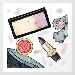 Pretty Makeup Essentials Art Print
