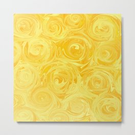 Honey Yellow Roses Abstract Metal Print