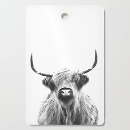 Black and White Highland Cow Portrait Cutting Board