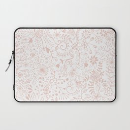 Floral Pattern Pink on White Laptop Sleeve
