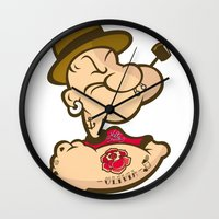 popeye Wall Clocks featuring POPEYE by Valter Brum