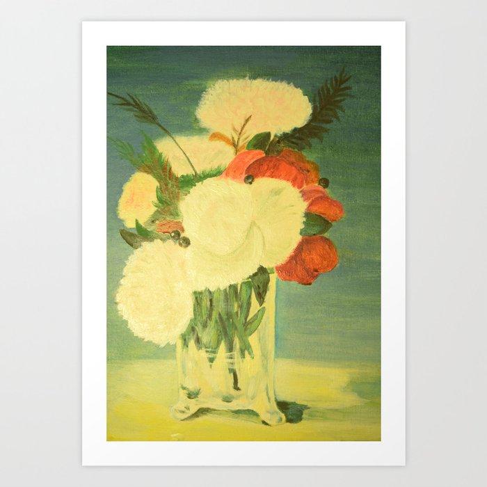 flowers in a glass vase . Oil painting . artwork . Art Print